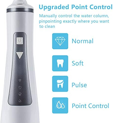 Newest 2019 Cordless Water Flosser Oral Irrigator with 4 Modes for Braces and Teeth, Rechargeable Dental Flosser with 4 Jet Tips, 300ML Reservoir, IPX7 Waterproof for Home and Travel