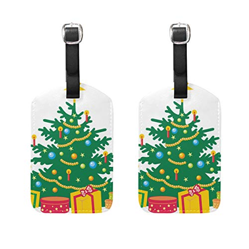 Tag Luggage Flyer (Luggage Tags Cartoon Christmas Trees Womens Baggage Tag Holder Airplane Travel Accessories)