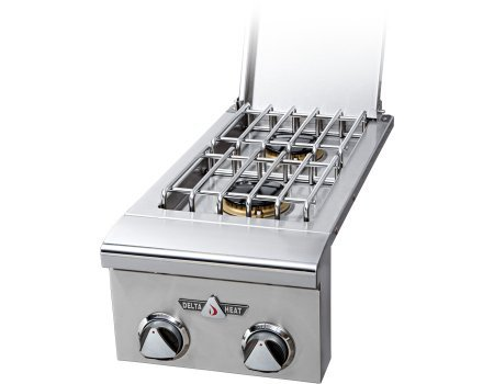 Delta Heat DHSB2-CN Natural Gas Double Side Burner with Two 16 000 BTU Sealed Burners 9V Electronic Ignition and LED Control Panel Lights in Stainless by Delta Heat