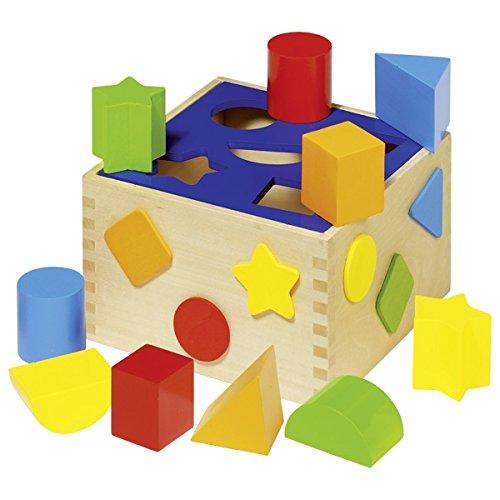 Sortierbox aus Holz, Steckspiel, Steckwürfel von goki mit Herzballon