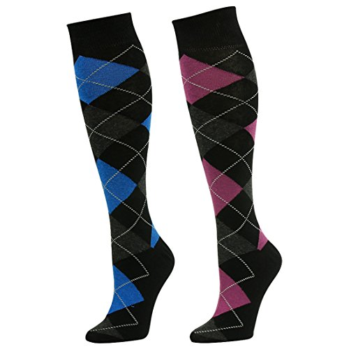 Casual Dress Socks, SUTTOS Mens Womens Ultimate Crazy Fun Pink/Blue Argyle Plaids Striped Knee High Long Tube Wedding Casual Dress Socks Gifts for Husband Men Suit Socks,2 Pairs Shoe Size ()