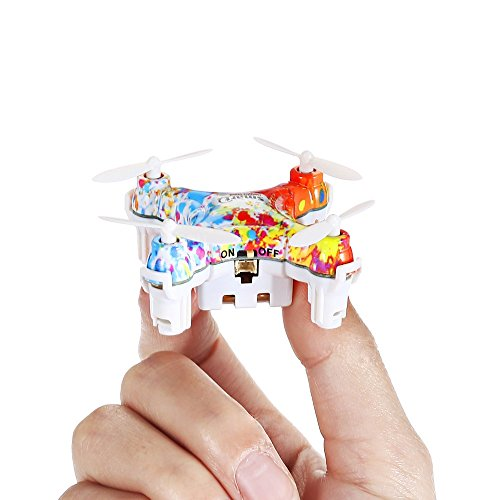 Virhuck CX-10D Mini RC Quadcopter Drone, Pocket Hand Blade Nano Helicopters, Intelligent Fixed Altitude RC Aircraft, 3D Flip, One-Key Landing and Take Off, Colorful