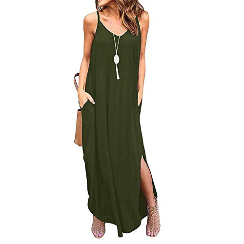 Century Star Women's Long Cami Maxi Dress Loose Spaghetti Strap Dress with Pockets Casual Beach Cover Up Army Green Large