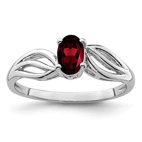 Band 3mm Sterling Antiqued Silver (925 Sterling Silver Red Garnet Band Ring Size 7.00 Birthstone January Gemstone Fine Jewelry For Women Gift Set)