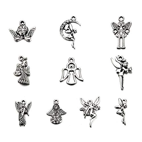 (150PCS Mixed Color Antique Silver Plated Angel Wings Fairy Charms Pendant Bracelets Necklace Jewelry Findings Jewelry Making Craft DIY (Silver3, 150))