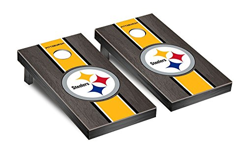 - Pittsburgh Steelers NFL Football Regulation Cornhole Game Set Onyx Stained Stripe Version 2