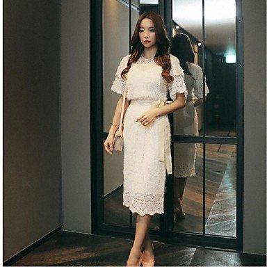 PU&PU Robe Aux femmes Gaine simple,Couleur Pleine Col Arrondi Mi-long Coton / Polyester , white , s