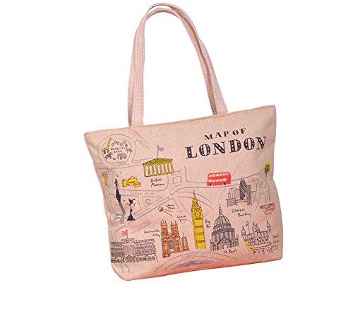Skyflying Casual Canvas Tote Satchel Hobo Handbag Shopper Shoulder Sling Bag (yellow-london)