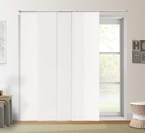 "Chicology Adjustable Sliding Panels Cut to Length Vertical Blinds, Up to Up to 80""W X 96""H, 2. Urban White (Light Filtering)"