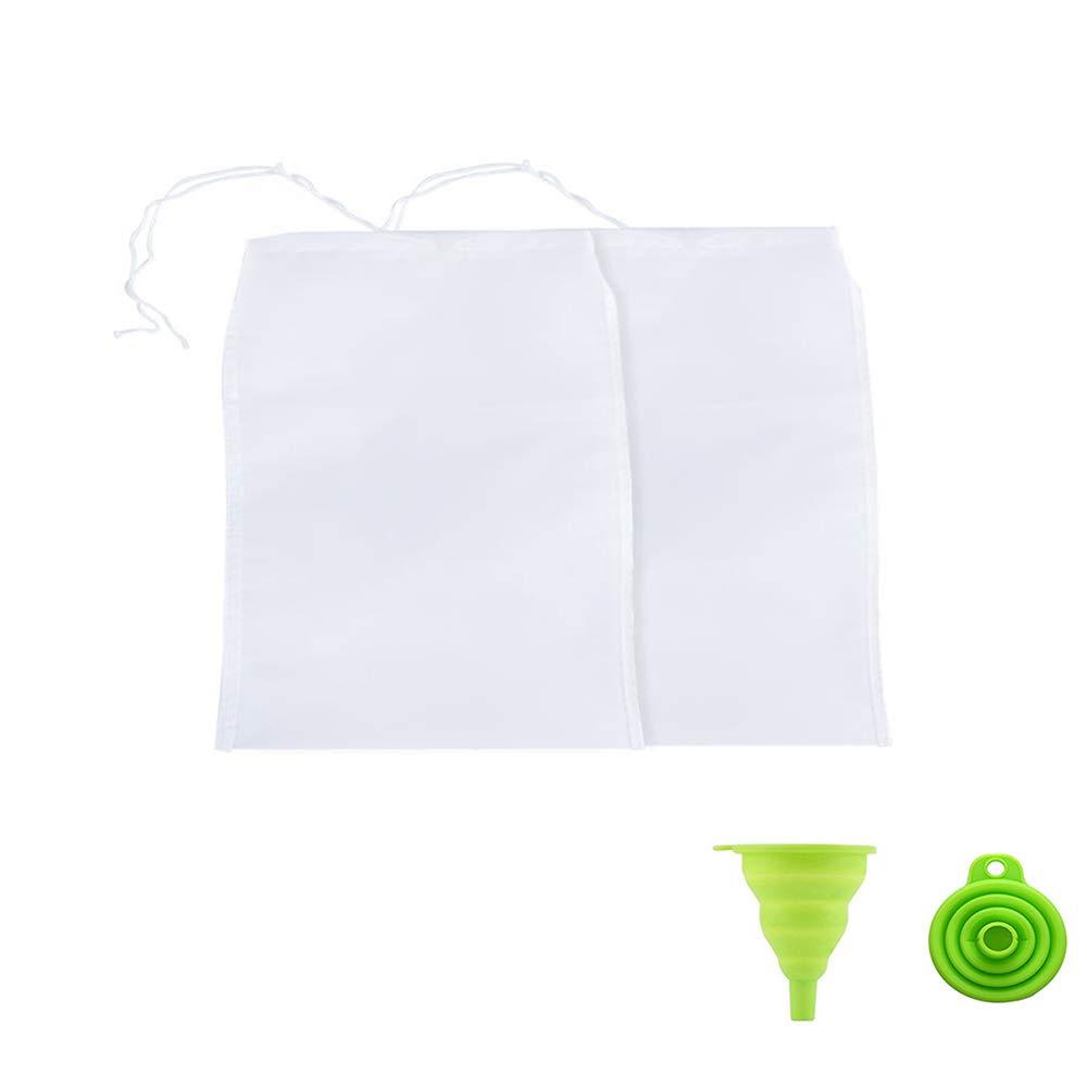 mousseline pour formage avec entonnoir en silicone /Étamine nylon Mousseline cuisine Sac /à lait coffe jus Filtre en tissu