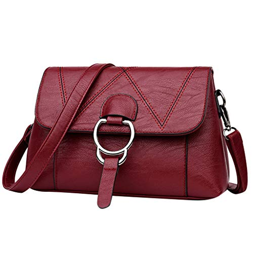 BOLUBILUY Women's Leather Messenger Bag for Women, Wild Messenger Bag Solid Color Shoulder Bag Simple Handbag Satchel