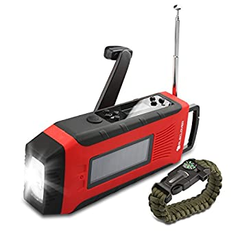 [Upgraded]ELECLOVER Solar Crank AM/FM/NOAA(WB) EWS Alert Weather Radio with LED Flashlight, Cell Phone Portable Charger + a Multifunctional Bracelet
