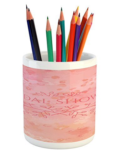 Ambesonne Bridal Shower Pencil Pen Holder, Bride Invitation Grunge Abstract Backdrop Floral Design Print, Printed Ceramic Pencil Pen Holder for Desk Office Accessory, Pale Pink and Salmon]()