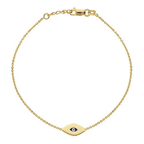 14K Yellow Gold Evil Eye Bracelet. Adjustable Diamond Cut Cable Chain 7