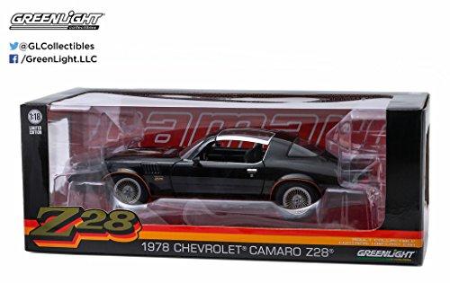 1978 Chevrolet Camaro (1978 Chevrolet Camaro Z/28 Black with Orange Stripes & Black Interior 1/18 by Greenlight 12902)