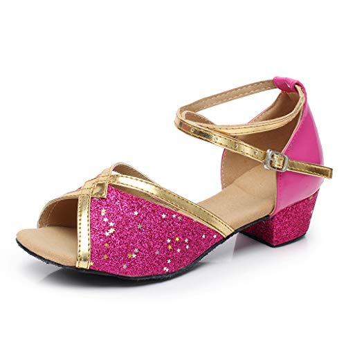 Leisuraly Women Tango Ballroom Latin Salsa Waltz Dance Girl Party Formal Shoes Brillante Glitter Heeled Hot Pink
