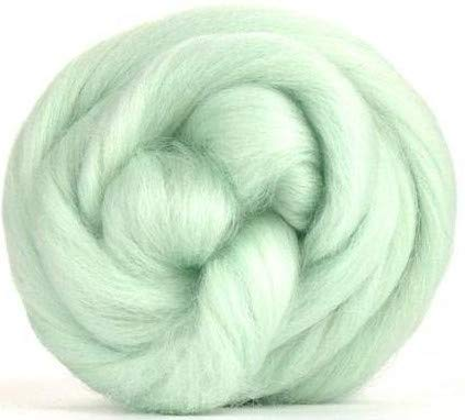 4 oz Paradise Fibers Peppermint (Green) Corriedale Top Spinning Fiber Luxuriously Soft Wool Top Roving for Spinning with Spindle or Wheel, Felting, Blending and Weaving