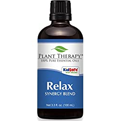 Plant Therapy Relax Synergy (Mental Relaxation) Essential Oil Blend. Blend of: Lavender, Marjoram, Patchouli, Mandarin, Geranium and Chamomile. 100 mL (3.3 Ounce).