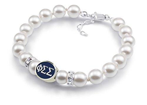 (Phi Sigma Sigma Sorority Sterling Silver & Glass Pearl Bracelet)