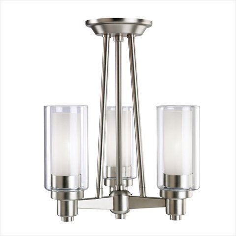 Circolo 3 Light (Kichler Lighting 3743NI Circolo 3-Light Semi-Flush Ceiling/Drop Chandelier, Brushed Nickel with Clear Glass Cylinders and Satin-Etched Inner Cylinders)