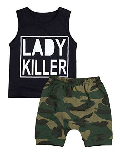 Baby Boy Clothes Lady Killer Print Summer Sleeveless Vest Tops Camouflage Shorts Outfit Sets for Toddler(18-24 Months) ()