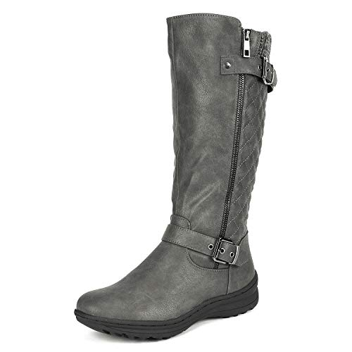 DREAM PAIRS Women's URVA Grey Faux Fur Lining Retro Buckle Knee High Riding Boots Size 7.5 B(M) US (Retro Buckle)