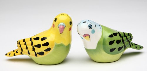 Appletree 2-1/8-Inch Ceramic Yellow and Green Parakeet Salt and Pepper