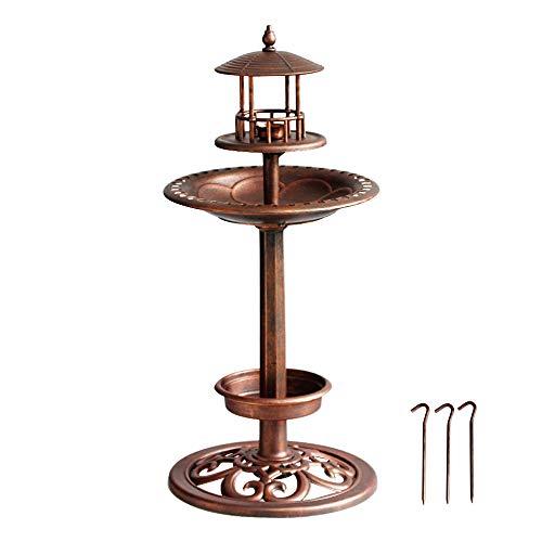 Adorable Pedestal Birdbath Small Feeding Bowl, Bird Bath Bowl, Planter 3 in 1 Hard Plastic Outdoor Bird Baths Antique Copper Decoration for Garden, Yard, Patio-12x12x26 Inches (Pedestal Bird Feeder)