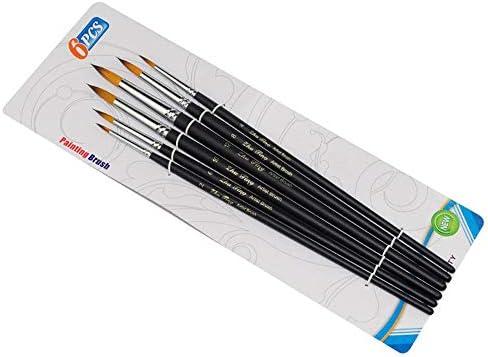 画材筆 6個マットブラックロッド二色ナイロンヘアヒント水彩ペンのフックラインのペンアクリル ペイントブラシセット (色 : Black, Size : Free size)