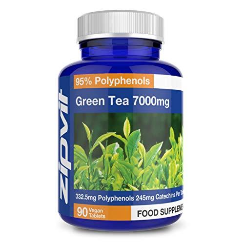 Extracto de Te Verde 7000 mg 90 Tabletas Maxima Concentracion Para Hombres y Mujeres Vegano