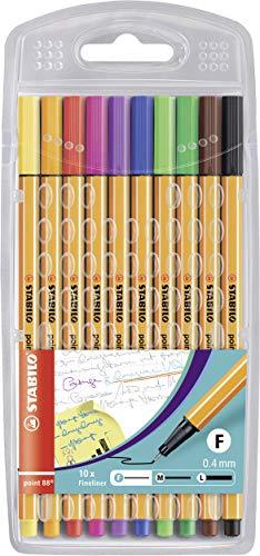 STABILO Point 88 Fineliner Pens, 0.4 mm - 10-Pen Set