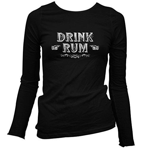 (Smash Transit Women's Drink Rum Long Sleeve T-Shirt - Black, Large)