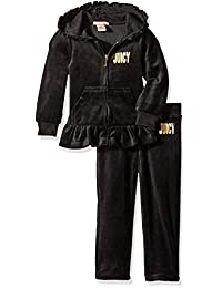 Juicy Couture Girls 2 Piece Velour Hooded Jacket and Pant Set Clothing Set