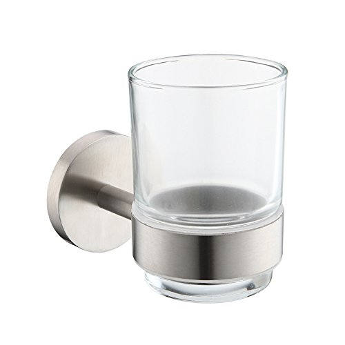 Mellewell Contemporary Single Bathroom Tumbler Toothbrush Holder Wall Mounted, Stainless Steel Brushed Nickel, 06001ST (Holder Nickel Mounted Toothbrush Wall)