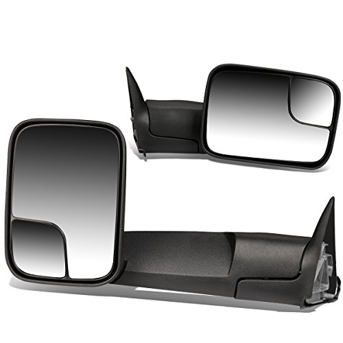 (For Dodge Ram BR/BE Pair of 90 Degree Adjustable Rear View Manual Folding Towing Side Mirror (Black))