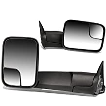 Dodge Ram BR/BE Pair of 90 Degree Adjustable Rear View Manual Folding Towing Side Mirror (Black)