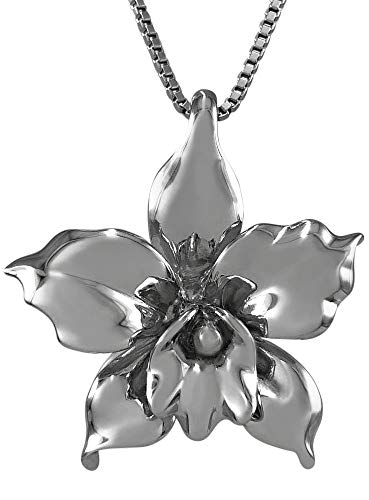 Aloha Jewelry Company Sterling Silver Large Orchid Necklace Pendant with 18