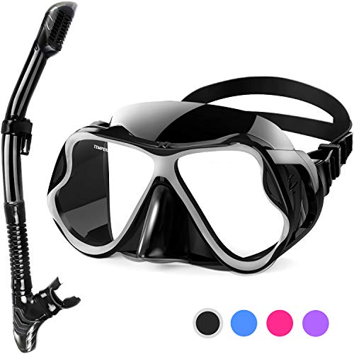 Greatever 2019 Newest Dry Snorkel Set,Panoramic Wide View,Anti-Fog Scuba Diving Mask,Easy Breathing and Professional Snorkeling Gear for Adults ()