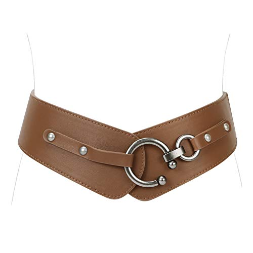 JASGOOD Women's Fashion Vintage Wide Elastic Stretch Waist Belt With Interlock Buckle (Suit Waist 41-46Inch, Light Brown) ()