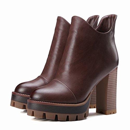 Elegante Boots Platform MissSaSa Stivaletti Donna Braun EKqAFAOaw