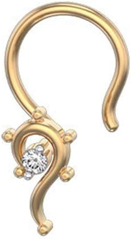 Dividiamonds 0.05 Ct D//VVS1 Diamond in 14K Yellow Gold Plated Fancy Solitaire Nose Pin for Womens /& Girls