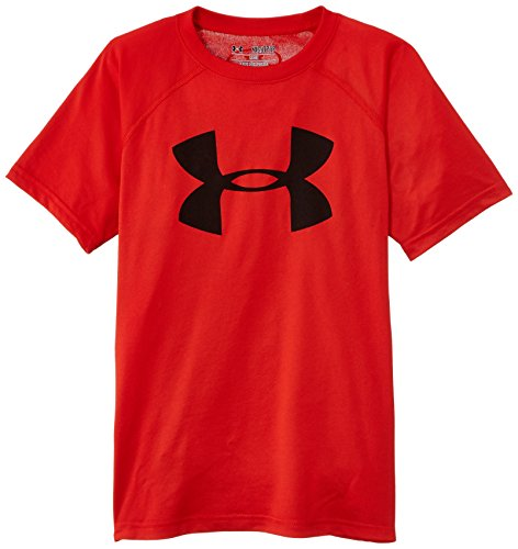 Under Armour Boys' Tech Big Logo Short Sleeve T-Shirt, Risk Red/Black, Youth X-Small