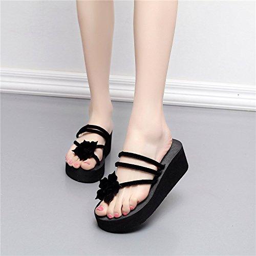OME Chaussons amp;QIUMEI Chaussons Chaussures D'Été Cool Femme Et Black Slacker qwZAqCT