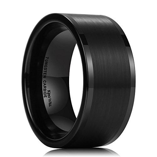 King Will Basic Men's 10MM Black Tungsten Carbide Ring Brushed Matte Wedding Engagement Band ()