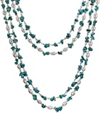 HinsonGayle 'Maria' 2-Strand Turquoise & Freshwater Cultured Pearl Necklace & Dangle Earrings Set-40 in length