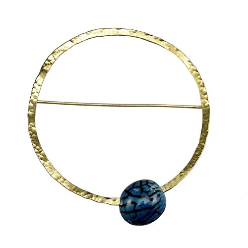 - Handmade hammered gold or silver tone large circle brooch