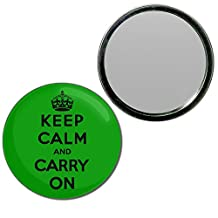 Green Keep Calm and Carry On - 55mm Round Compact Handbag Mirror