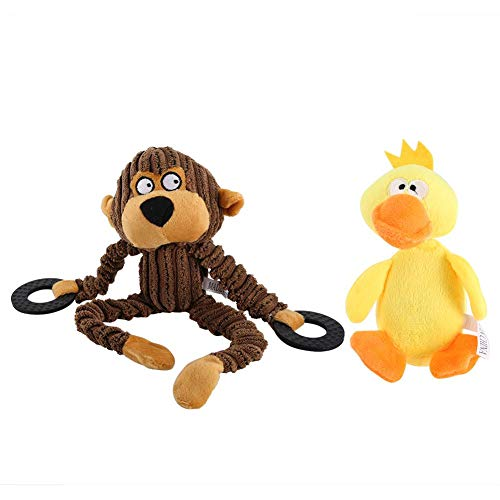 HEEPDD 2PCS Dog Chewing Toys, Plush Monkey Duck Teether Stuffed Toy Teething Sounding Chew Toys for Small Medium Dog…