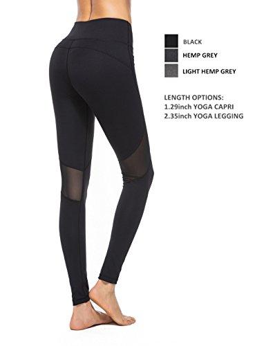 Womens Mesh Yoga Leggings Exercise Pants Fitness Spandex Athletic Leggings W Pocket XS-XL(US X-Large, Black Pants Full Length)