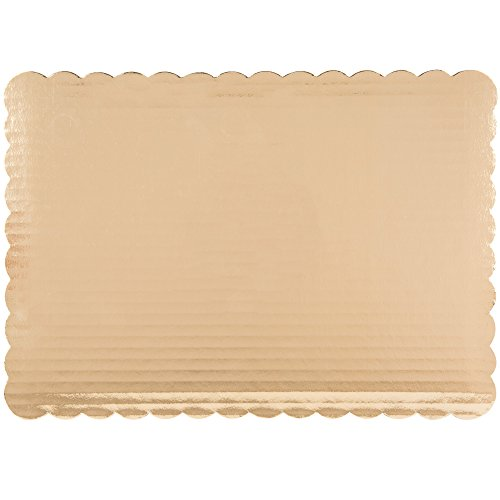 Gold Cake Board - Scalloped Edge Rectangle Quarter Sheet 14